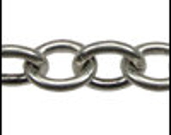 SMALL Heavy Cable Chain - ANTIQUE Silver Finish Chain 7.78mm x 6.53mm Links- Price is for ONE Foot (12 Inches) - Brass Base - Jewelry Making