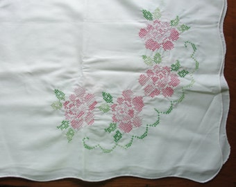 Vintage Cross Stitched Table Cloth with Roses