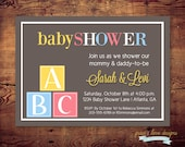 Printable Building Blocks Couples Baby Shower Invitation (digital file) DIY Printing at home or your choice of printer