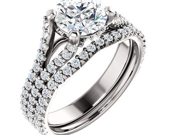 1 CT Round Forever Brilliant Moissanite Solid 14K White Gold Diamond Halo Engagement  Ring Set  - ST233105