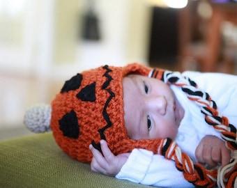 Jack O'lantern hat, Halloween crochet hat, children's hat, photoprop