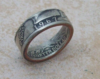 Ladies Christmas Gift for Mom Made To Order Unique Handmade Copper/Nickle Coin Ring 1967 Washington Quarter You Pick The Size Sizes 5-8