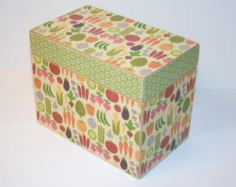 Recipe Box, Vegetable Garden Recipe Box, 4x6 Recipe Box, Handmade 4 x 6 Wooden Recipe Box, Keepsake Box, Green Recipe Box, Colorful Box