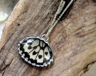 Real Butterfly Wing Jewelry, Rice Paper Kite Butterfly, Domed Glass Pendant