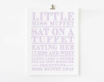 Little Miss Muffet Nursery Rhyme Wall Art // Children's Art Print // kids wall art // Children's nursery art // Nursery Rhyme Wall art