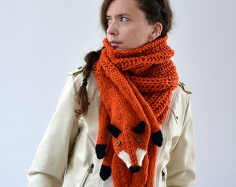 Hand knit long fox scarf in red orange with polymer clay buttons