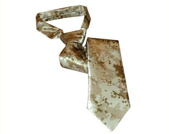 Camo tie. Desert digital camouflage necktie.  Satin digital camo tie