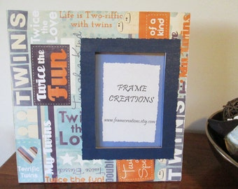 5x7 Twins Themed - Hand Decorated Picture Frame
