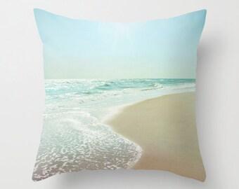 Pillow Cover, Ocean Pillow, Beach Photography Pillow, Aqua Sea Green Pillow, Seashore Pillow, Bedding Accents, Living Room Decor 16x16 18x18