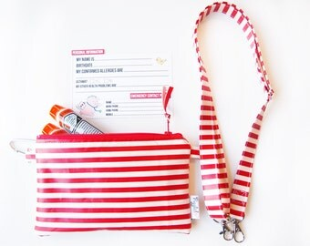 EpiPen Case with an Optional Adjustable Shoulder Strap, Medical ID Card, and a Carabiner - Red and White Stripe (Oilcloth)