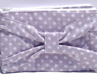 Polka Dot Bow Clutch in Grey and White