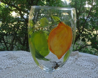 Hand painted lemon wine glasses