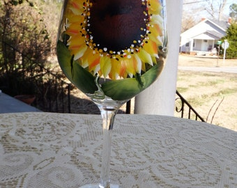 Sunflower wine glasses, hand painted wine glass, personalized glass, monogrammed glass, tea glass, drinking glass