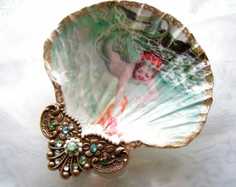 Water Baby Mermaid Large Shell Jewelry Dish