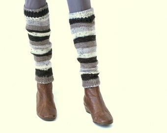 Black Gray colorful stitches Leg Warmers Leg Socks for Women Booties