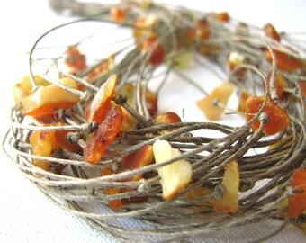 Amber  net - linen necklace