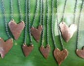 Bridesmaids Gift Necklace--Rustic Copper Heart- Set of 4