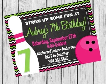 Girls Bowling Party Printable Invitation