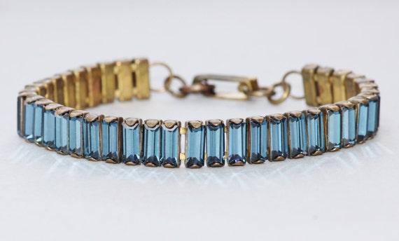 Vintage Navy Blue Baguette Bracelet,Swarovski Montana Sapphire Rhinestone Tennis Bracelet,Rare Size/Shape,Something Blue,Birthstone,Cocktail