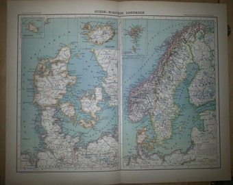 Antique Map of Scandinavia 1891 Large Map of Scandinavia, Sweden, Norway, Denmark 18 by 14 inches