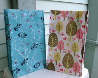 Reusable Lunch Bags-Pink-Tree-Bird- Teal-Lightweight-Eco Friendly-Green- Now with Velcro Closure