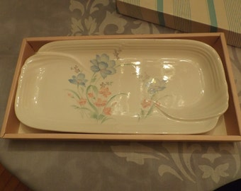 Sale Jamaguchi Ceramic Serving Platter. Japan.Tray in original box.Vintage .Pastel colors floral.Party Tray, Home Decor, gift. New old stock