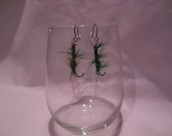 Green Feather Fly Tied Pair of Earrings, earrings, feather, fly tied, dangle