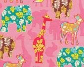 FQ Hawaiian pink Printed Animals Bunny Deer Giraffe Floral Cream Fabric Trans-Pacific