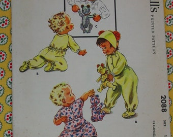 Vintage Pattern c.1957 McCall's No.2088 Baby,Toddler,Doll 2 Pc. Sleeper, and Toy Bear Size 1