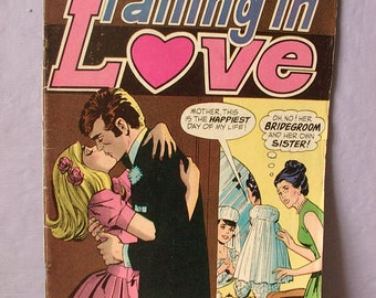 Vintage Falling in Love comic book, 1970, girl's liberation, wedding comic book, tips for vacation time, women's liberaton, gift for girl
