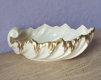 Vintage Lenox china bowl, porcelain bowl with 24k gold, ivory leaf bowl, ivory candy dish, wedding gift for bride