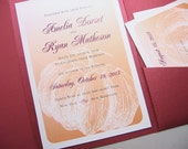 Fall Wedding Invitation Orange Pumpkin Custom Pocketfold Invite Autumn Wedding Pocket Belly Band Wrap Crimson Pocket Custom Wedding