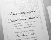 Traditional Wedding Invitation Black White Silver Grey Classic Lace Design Pocketfold Invite Elegant Wedding Pocket Custom Wedding