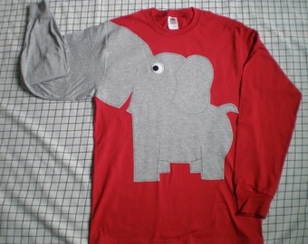 Elephant shirt,  elephant,  trunk sleeve elephant t-shirt,  RED UNISEX sizes small, medium, large, x large