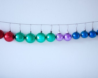 Set of 12 Mixed and Matched Christmas Glass Ornaments in Different Colors and Different Sizes