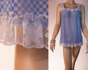 Romantic semi-sheer silky soft blue and white double layer nylon and white see through lace trim 1960's vintage Baby Doll nightgown - 2668