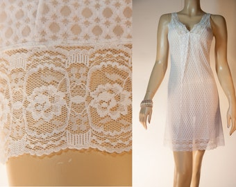 Charming vintage really sheer soft ivory white self patterned nylon and matching delicate lace detail 1960's full slip petticoat - 2871