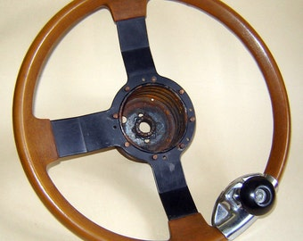 "Old  VINTAGE Italian ITALY OMNIPLAST s.p.a. Steering Wheel with Handle 14 3/4"""