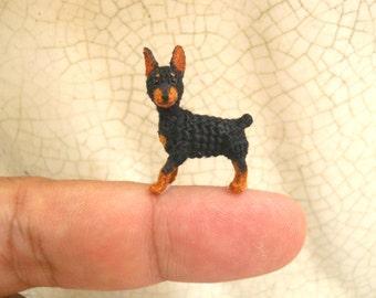 Doberman - Tiny Crochet Miniature Dog Stuffed Animals - Made To Order