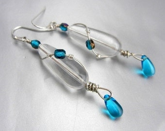 Clear vintage Lucite drop earrings with bead accents in choice of color, sterling silver wire // Twist n Shout
