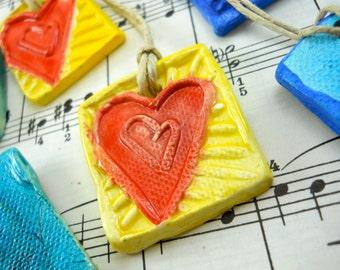 heart talisman, mini ornament, charm, token of love, gift embellishment, pocket keychain, backpack decor