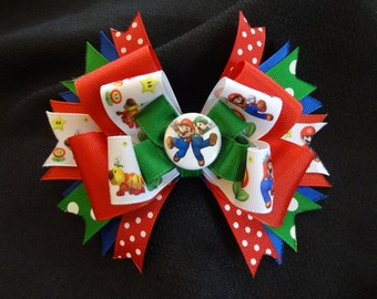 Super Mario inspired hairbow, Mario and Luigi inspired 5 inch bow