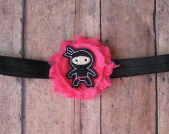 Baby Ninja Headband...Pink and Black Ninja Girl Headband..Newborn-Adult