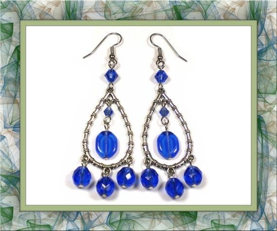 Sapphire Blue Chandelier Earrings (Clip-On by Request)