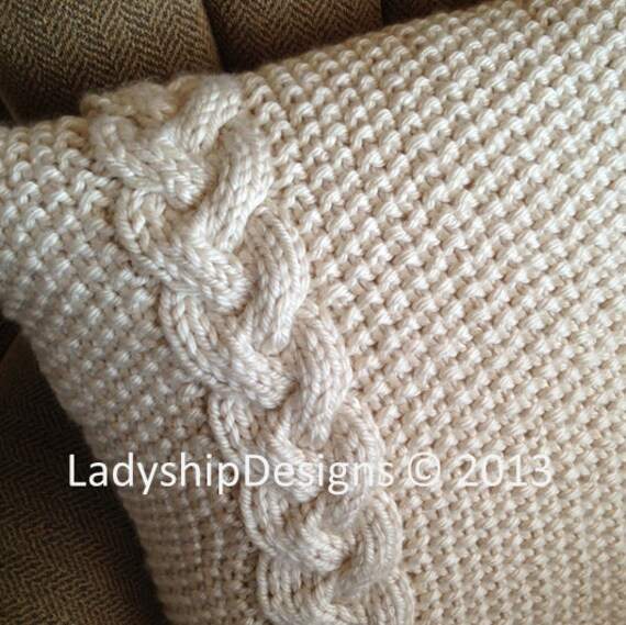 Knitting Pattern For Chunky Cushion Cover : PDF KNITTING PATTERN - Braided Cable 20