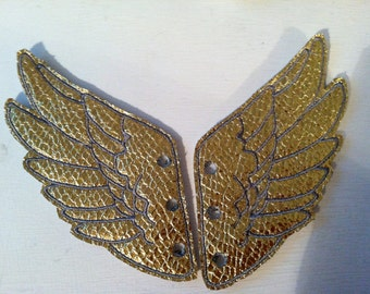 Metallic Gold Faux leather wings stitched with grey threadPercy Jackson Inspired Shoe Wings