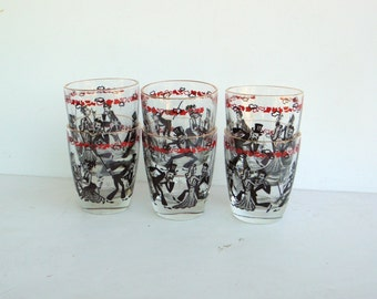 Vintage Shot Glass - Mid Century Shot Glass - Whiskey Shot Glass - Red Black Shot Glass - Gold Rim