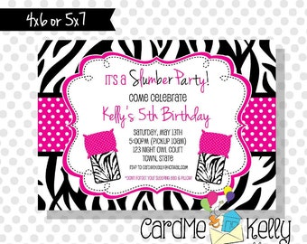 Printable Girlie Spa Zebra Print Birthday Slumber Party Sleepover Invitation - Printable Digital File