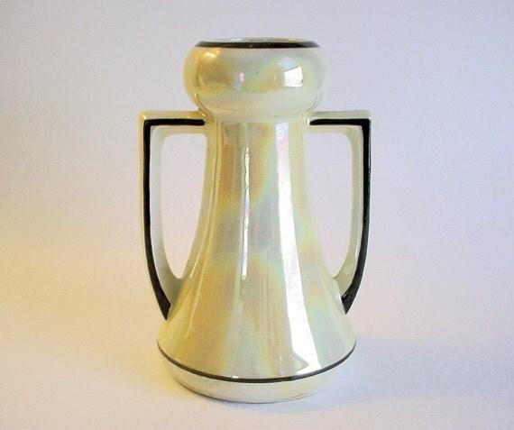 Vintage Czech Ceramic Vase Pastel Yellow Luster Ware Art