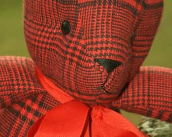 Black and Red Plaid Wool Blend Bear